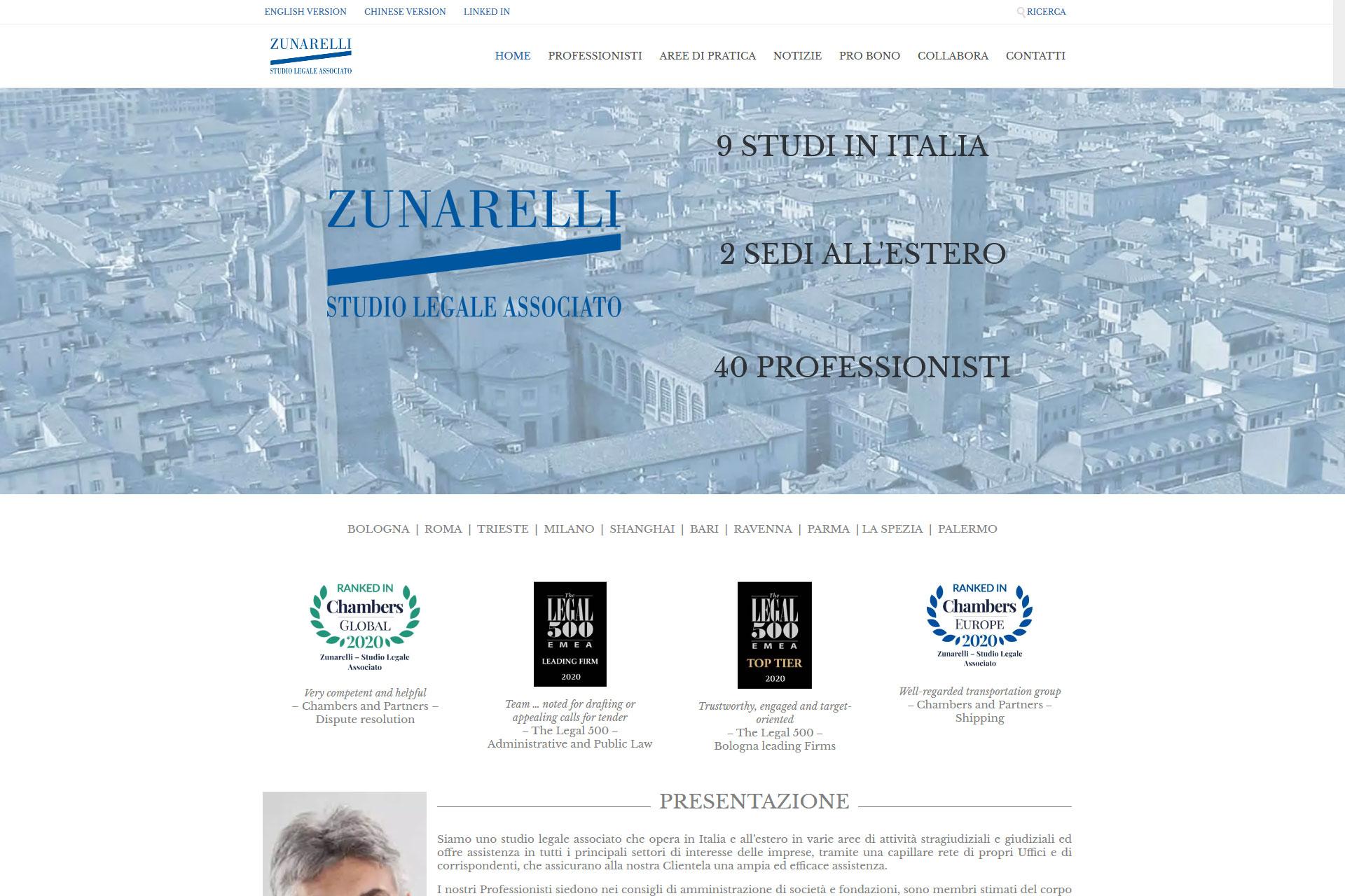 Zunarelli Studio Legale Associato Sito web